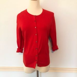 Ann Taylor Fire Red Cotton Blend Cardigan 🔥 Sz: M